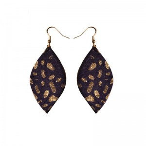 WENZHE New Handmade Leaf Shape Leather Dangle Earrings