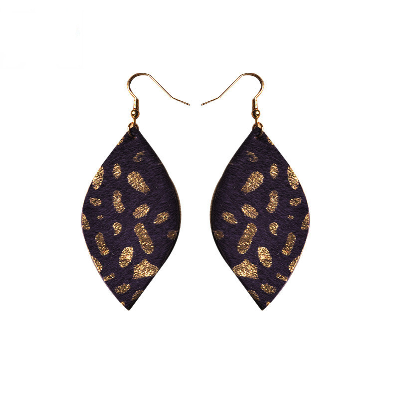 WENZHE New Handmade Leaf Shape Leather Dangle Earrings Featured Image