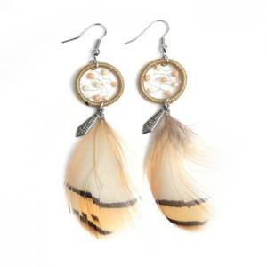 Wholesale earrings jewelry fashion indian color beads hook earring long feather earring for women