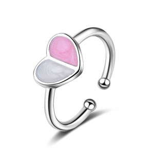 WENZHE Fashion Ice Cream Color Love Heart Enamel Open Rings