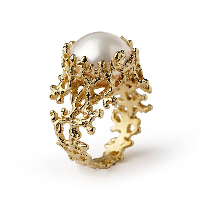 Gold Pearl Engagement Ring Featured Image