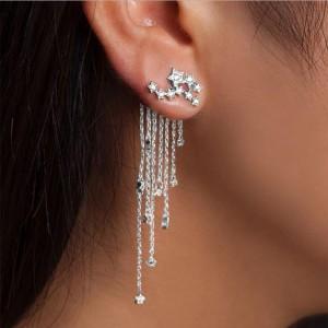 Fashion New Trend Gold/Silver Color Crystal Star Streamlined Long Tassel Earrings For Women Jewelry