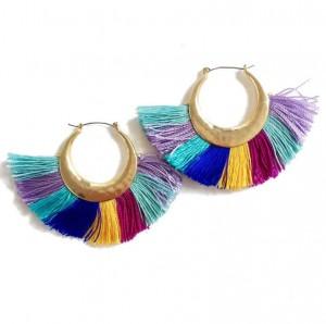 Europe Trend Braided Silk Tassel Gold Tone Pure Handmade Boho Fan Earrings