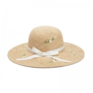 WENZHE Women's Beach Hat Flower Embroidered Straw Hat with Bow-knot Ribbon