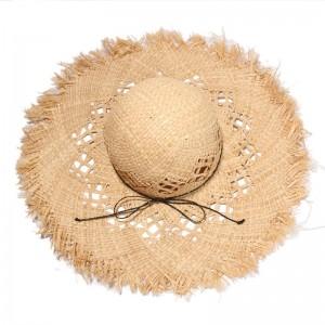 WENZHE Ladies Sunscreen Big Brim Beach Raffia Straw Summer Hat