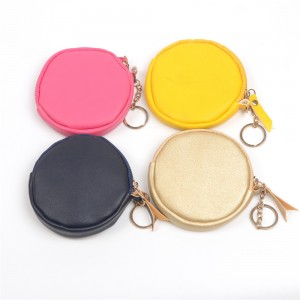 WENZHE Smile Face PU Leather Cute Keychain Bag Coin Purse With Tassels