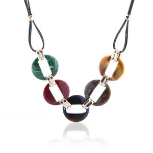 Fashion colorful acrylic pendant necklace wax line jewelry accessories