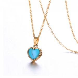 WENZHE Stainless steel lady heart turquoise pendant necklace