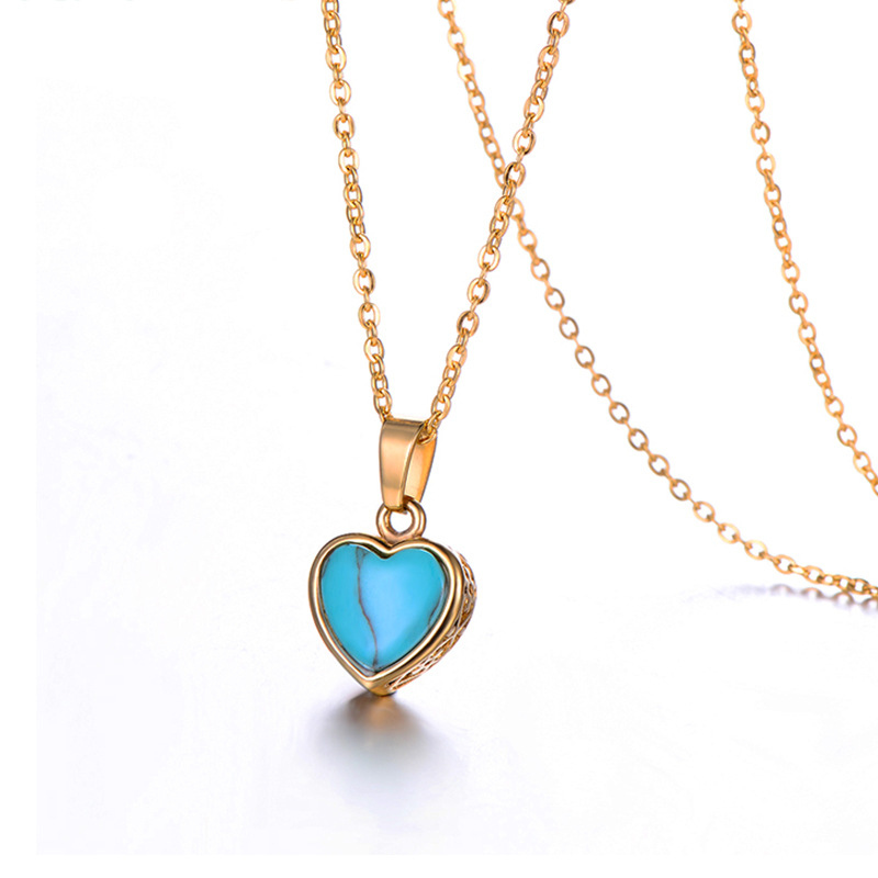 WENZHE Stainless steel lady heart turquoise pendant necklace Featured Image