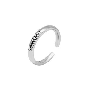 WENZHE Wholesale 925 Sterling Silver With Smile Emoji Ring for Lovers