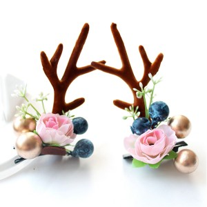 Fashion Design Handmade Antler Hairclips Christmas Flower Hairclip For Children
