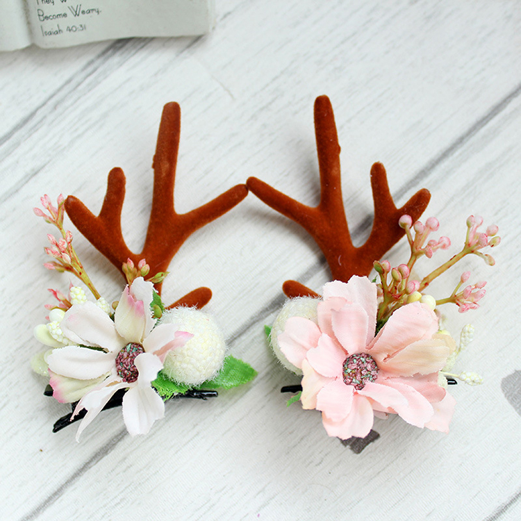 Fashion Design Handmade Antler Hairclips Christmas Flower Hairclip For Children Featured Image