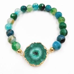 Hot Sale Gold Plated Irregular Druzy Natural Stone Green Agate Beads Bracelet