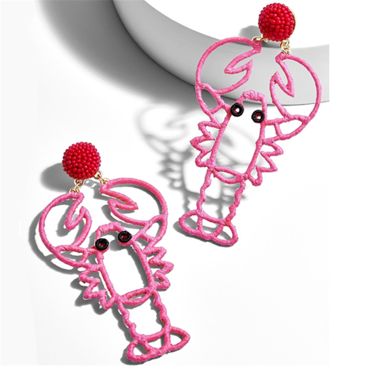 WENZHE Latest arrival raffia grass weaving shrimp lobster hollow earrings Featured Image