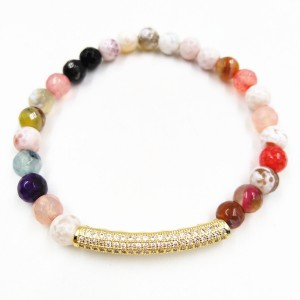 Handmade Gold Crystal Inset Beads Multicolor Natural Agate Stone Beads Bracelet