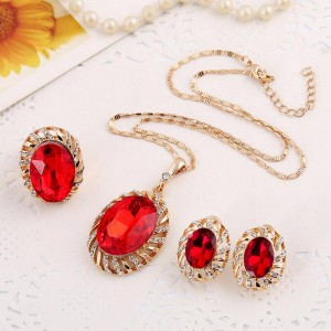 Ruby modern gold jewelry set for wedding geometry bridal jewelry set