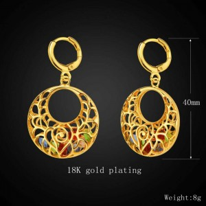 Dubai fashion copper plated 18K gold round hollow color diamond necklace earrings jewelry set