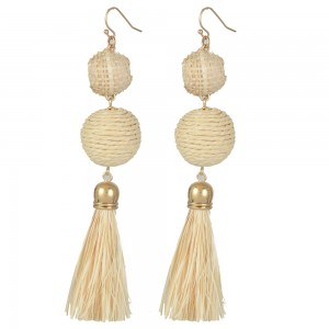 WENZHE New Fashion Handmade Straw Weave Ball Tsaael Drop Earring For Women