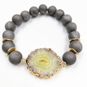 New Arrival Best Selling Lava Stone Agate Bead Druzy Beaded Bracelet