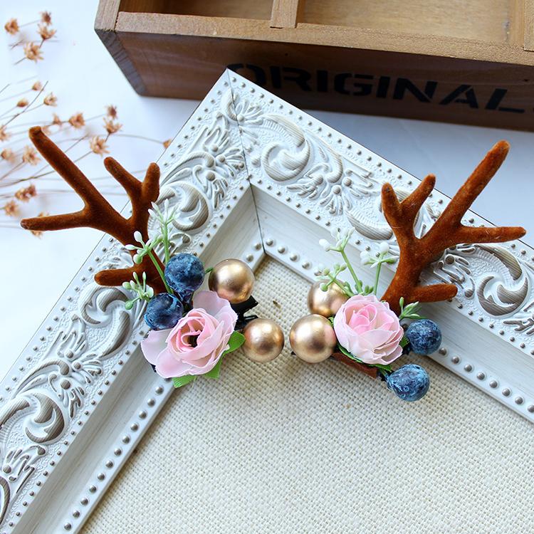 Fashion-Design-Handmade-Antler-Hairclips-Christmas-Flower (1)