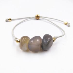Fashion Women Adjustable Wax line Smooth Natural Stone Beads Bracelet