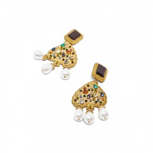 WENZHE Wholesale Statement Vintage Gold Plated Crystal Pearl Jhumka Drop Dangle Earrings for Women Jewelry