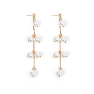 Fashion Earrings New Design Gold Plated Long Pearl Tassel Earrings