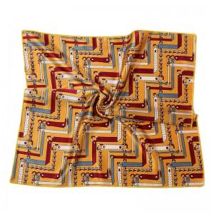 WENZHE Wholesale New Design Turkish Silk Square Head Scarf Digital Print Custom Women Satin Scarf