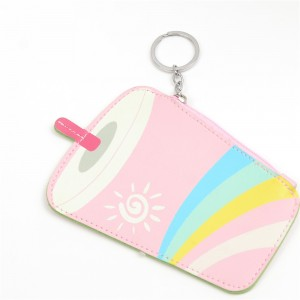 WENZHE Lovely Pink Drink Keychain PU Mini Coin Purse