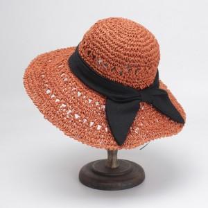 WENZHE Handmade Wide Brim Straw Hat With Big Black Bow