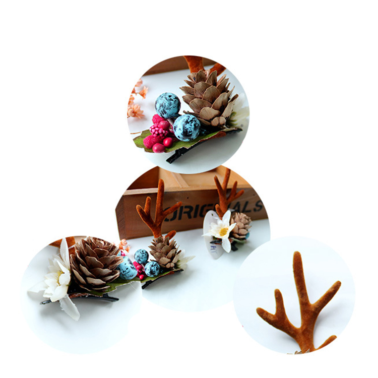 Fashion-Design-Handmade-Antler-Hairclips-Christmas-Pine (4)