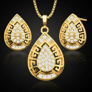 New fashion women's copper plated 18K gold drop shape hollow Dubai necklace earrings two-piece jewelry set