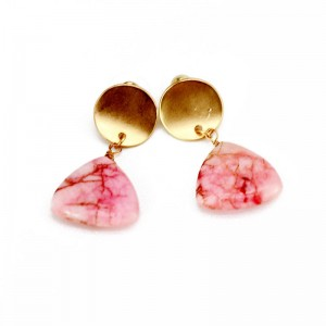 WENZHE Triangle pink natural stone drop stud earrings
