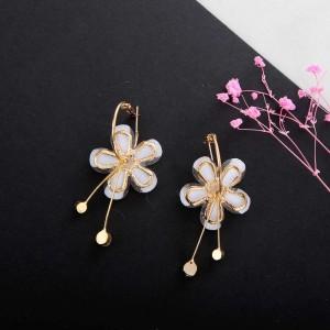 Fashion flower petal alloy acrylic diamond earrings jewelry accessories