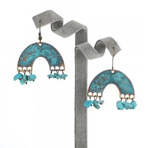 Wholesale Personality Metal Distressed Stud Earrings Geometric Semicircular Arch Turquoise Vintage Earrings
