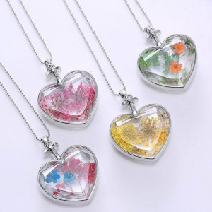 Valentine's Day Gift Jewelry Heart-shaped pendant love crystal plants dried flowers necklace