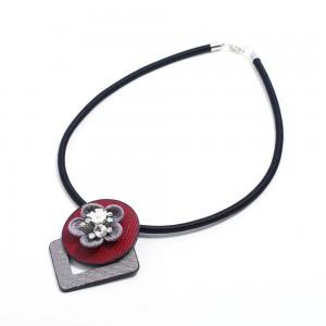WENZHE Fashion new leather PU flowers irregular choker necklace for women