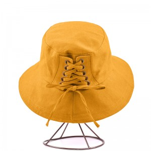 WENZHE Simple Style Canvas Shoelace Bucket Hat For Women