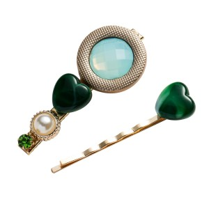 WENZHE Korean Style Acrylic Acetate Pearl Heart Hairpin Duckbill Clip Set