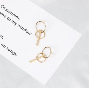 Golden earring with double circles and bar girl gift simple geometric earring