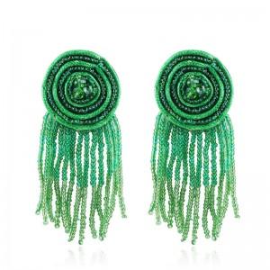 Handmade Bohemia Statement Earring Multilayer Seed Beaded Long Tassel Earrings For Women