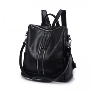 WENZHE New design fancy women daily leather shoulder bag black leather backpack