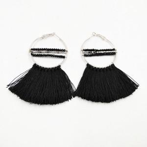 New Models Ladies Earring Black Silk Thread Tassel Beads Hoop Earrings