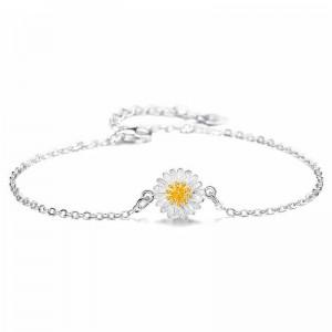 WENZHE 925 Sterling Silver Jewelry Daisy Series Sun Flower Bracelet