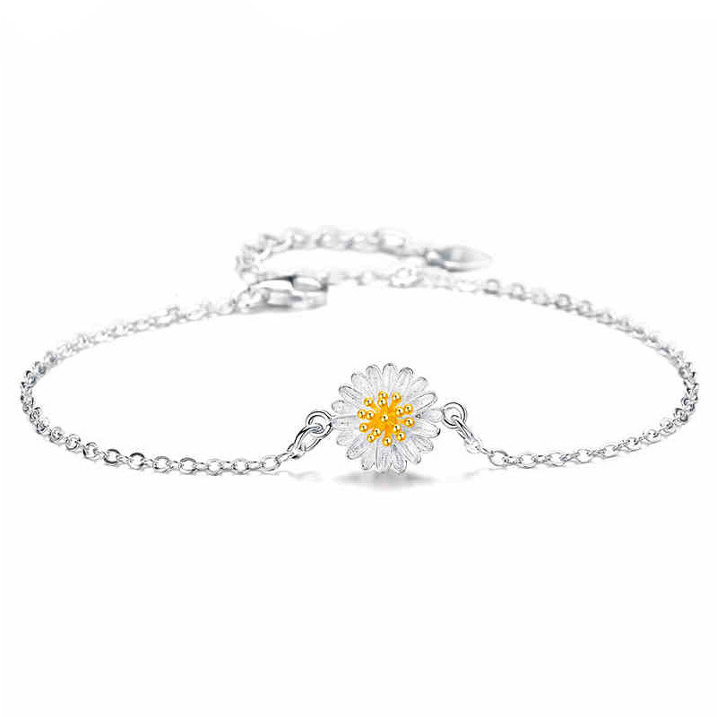WENZHE 925 Sterling Silver Jewelry Daisy Series Sun Flower Bracelet Featured Image