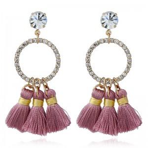 Wholesale New Style Women Earring Crystal Rhinestone Circle Thread Tassel Drop Earrings