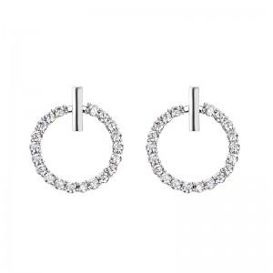 Wholesale S925 Sterling Silver Geometric Shape Zirconia Circle Stud Earrings