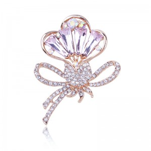 WENZHE new design pink color crystal bow brooches for ladies