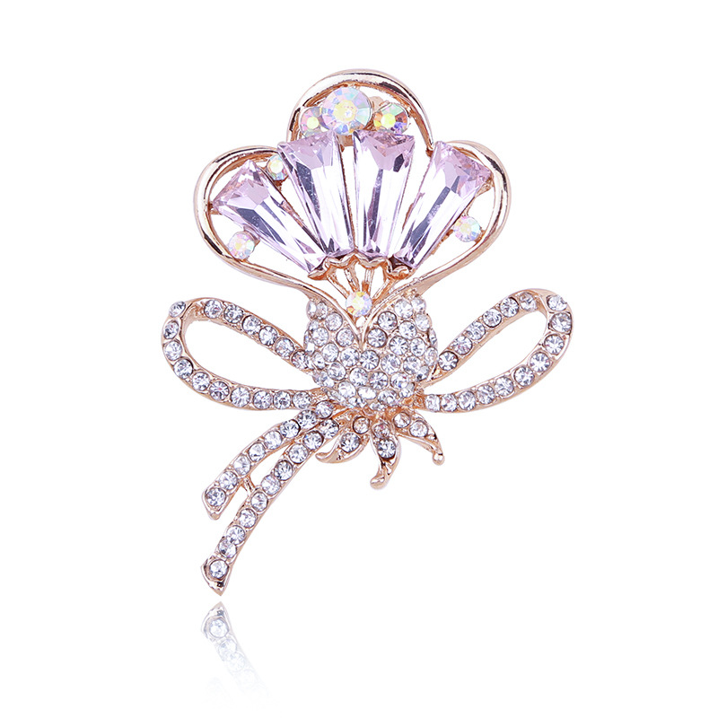 WENZHE new design pink color crystal bow brooches for ladies Featured Image