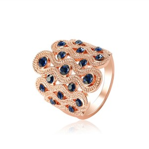European and American Retro Style Engagement Rings Blue Crystal Wedding Ring